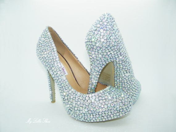 Silver Clear AB Rhinestone high heels Wedding Bridesmaid  387a6263ca0d