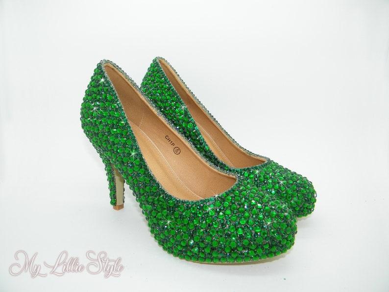 e65168faeb3 Emerald dark green mid rhinestone heels Wedding shoes