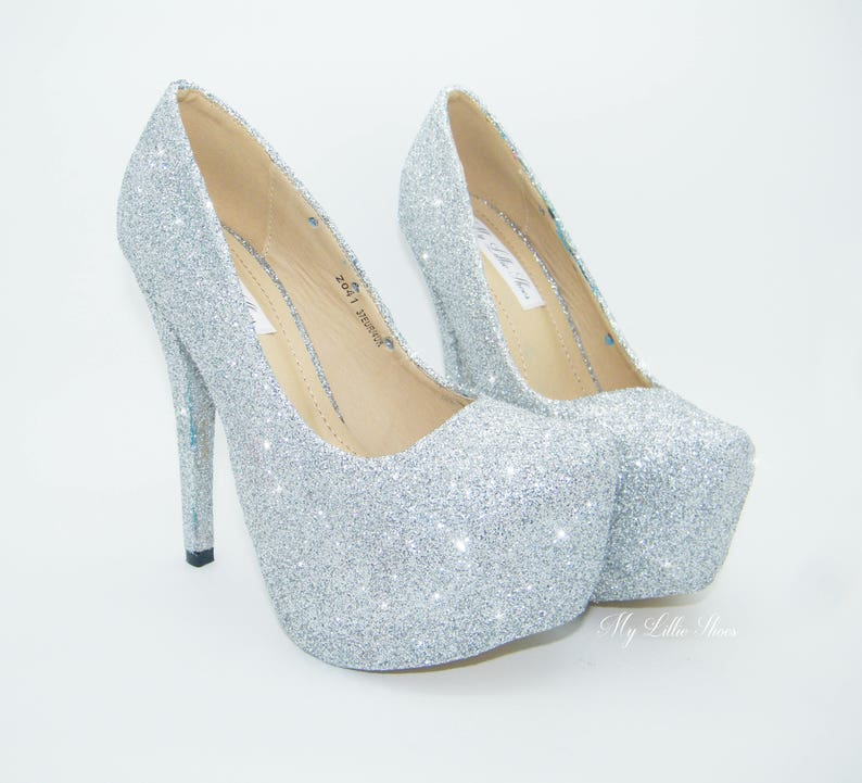 371407030e3 Silver glitter platform high heel stilettos ~ Bridal shoes, Wedding shoes,  Pageant shoes, prom, party, night out shoes, girlfriend gifts