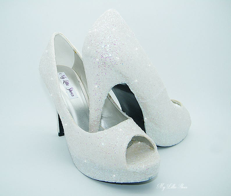 d42bffce9bc137 Peep Toe high heels White glitter high heels Wedding
