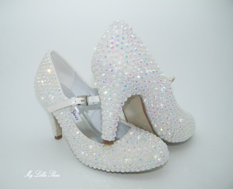 a03a984f55ec3 White rhinestone bling Mary Jane mid heels ~ Bridal, Bride, Prom, Pageant,  Gift for wife, Gift for bride to be, Mother of the bride shoes