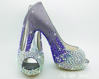 Bridal shoes ~ Cadbury, dark purple platform high heels ~ Wedding shoes, Prom shoes, Party Shoes, Special occasion shoes, Evening shoes