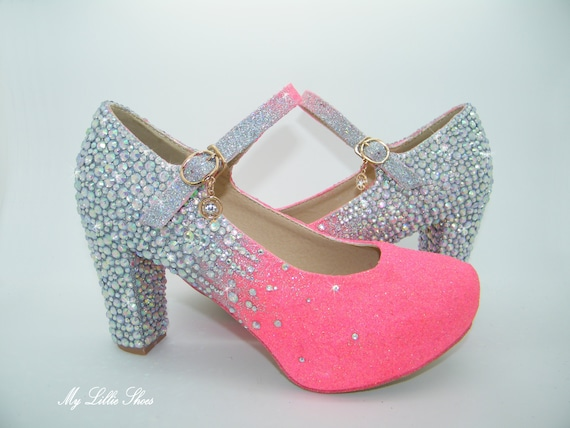 67d9fb98a1439 Neon Pink and AB Rhinestone embellished block Mary Jane heels ~ Unique  Bridal shoes, Bright Bridesmaid shoes, Quirky custom heels, Party