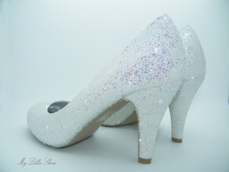 21efc5787e3ca White glitter court low heels ~ Comfortable wedding shoes, Low bridal  heels, Bride, Bridesmaid, Maid of honor, Small heel shoes, Party
