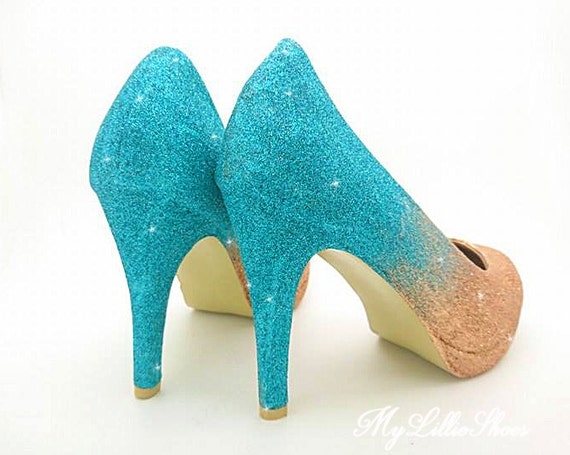 ombre of Prom ~ Guest Bride for Shoes Sweet the heels Wedding Mother Bridesmaid Gift 16 court Wedding 21st her Glitter Party ~ qtpOcxPB