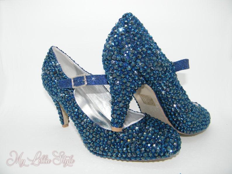 22cd535704d66 Navy blue rhinestone Mary Jane mid heels Bridal Bridesmaid   Etsy