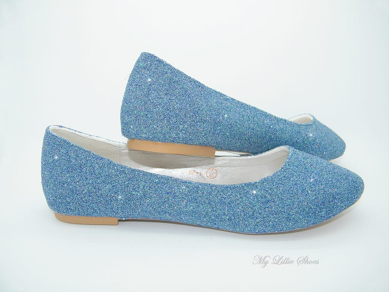 121f14e9a05 Flats ~ Light Sapphire blue glitter ballet flat shoes ~ Comfy Bridal  shoes