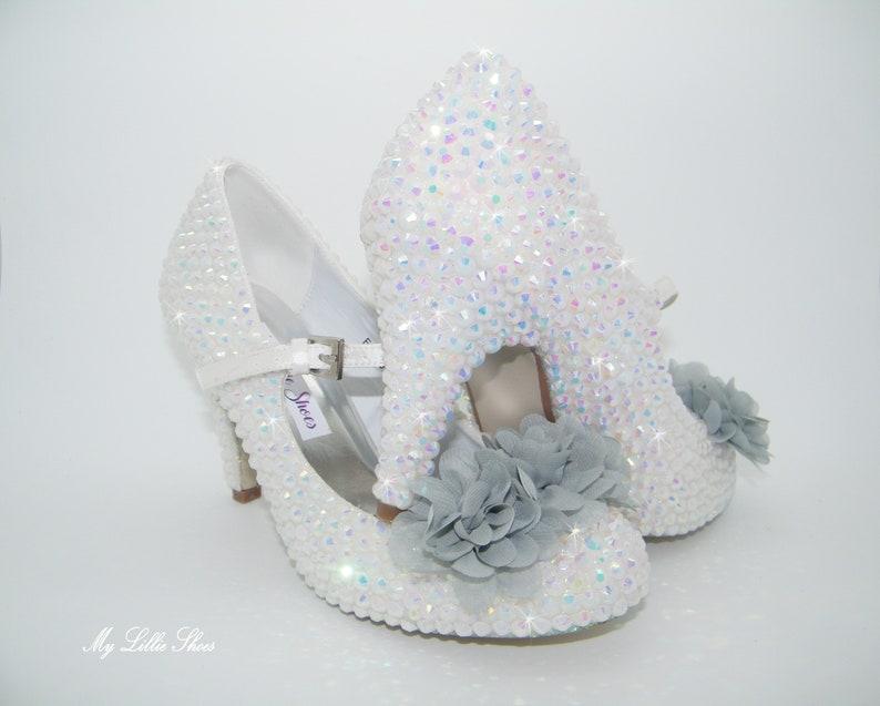 ca6668db87e4a White AB rhinestone and grey chiffon flower Mary Jane mid heels ~ Wedding,  Bridal, Bride, Bridesmaid, Prom, Sweet 16, Pageant, Gift