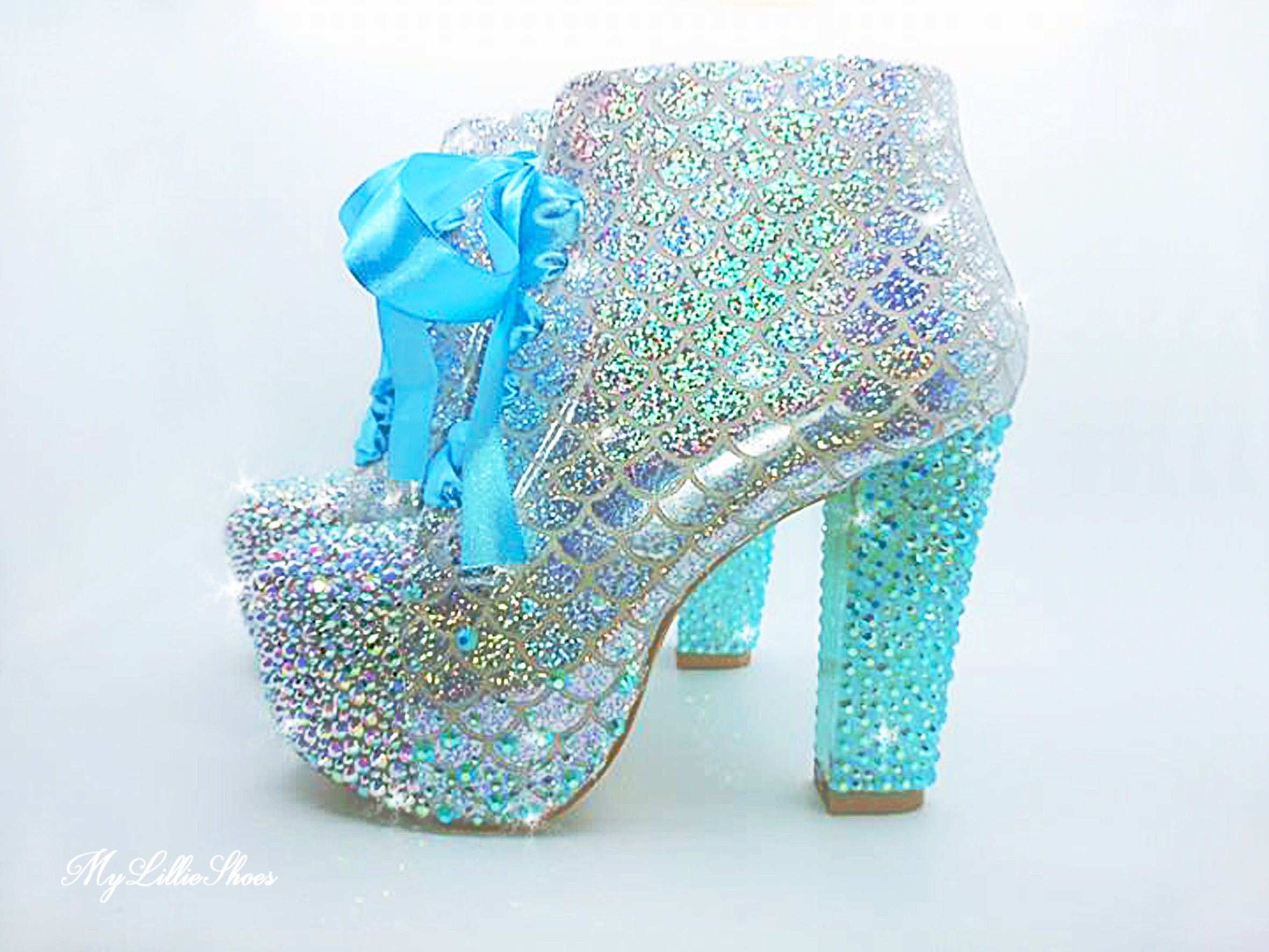 14cdd5b45 Mermaid Heels Glittery Mermaid Scale Aqua and Silver   Etsy