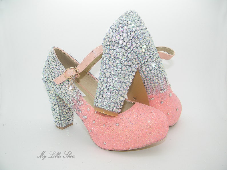 38c6f2997f9ed Blush glitter and rhinestone embellished Chunky heel Mary Jane Shoes ~  Bridal shoes, Bridesmaid shoes, Pageant shoes, Wedding gift for wife