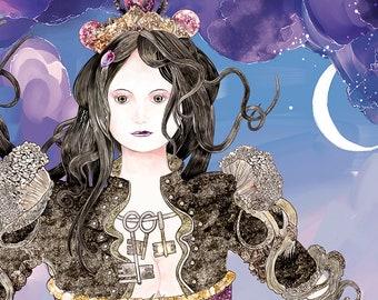 Hecate - A5 Goddess Greeting Card, Original Digital Fine Art, Artwork Card