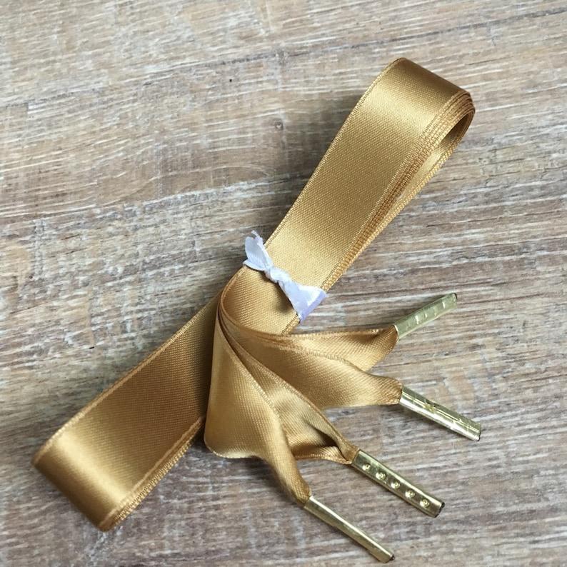 624ac589356d Dark Gold Doublefaced Satin Ribbon Shoe Laces 16 mm wide Pair