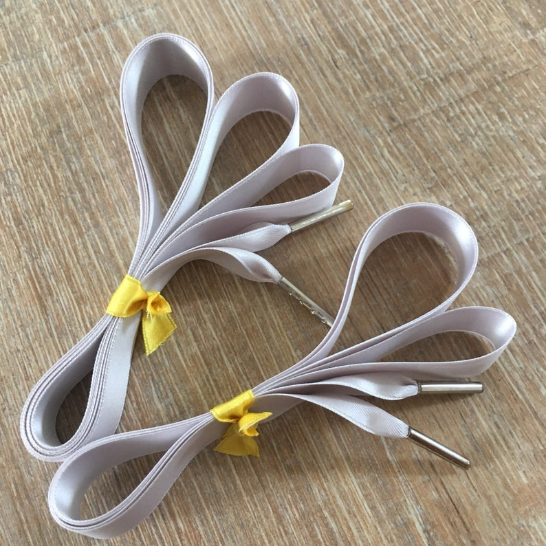 Light Grey Ribbon Shoelaces custom length color 716 Platinum 16 mm wide for shoelovers 58/'/' Swiss quality doublefaced satin ribbon