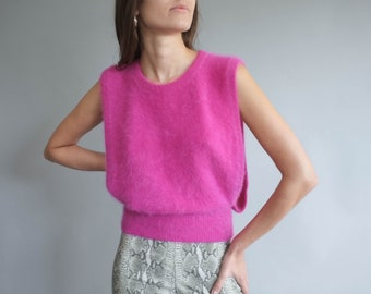 Fuchsia angora sweater vest / Boxy open side angora knit tank / Minimalist sleeveless pink sweater top