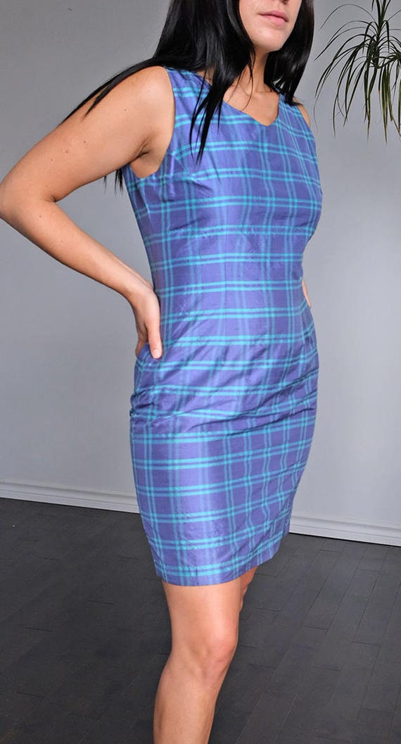 90s plaid purple and aqua silk dress - fitted 90s… - image 2
