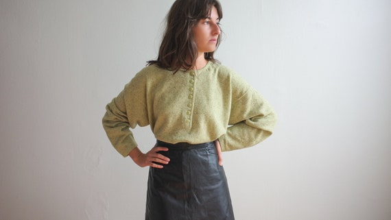 Vintage lime green wool sweater - 1980's