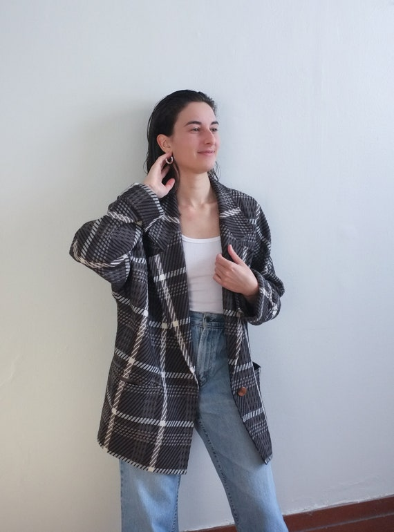 Oversized brown plaid wool jacket / 90s plaid dolm