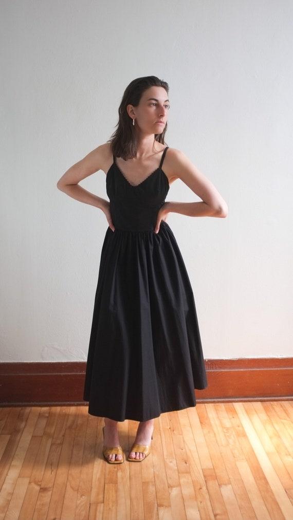 Black cotton bustier dress / full skirt dress