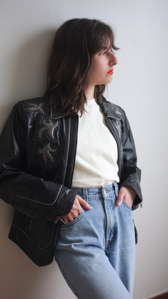Black and silver leather jacket / unique leather j