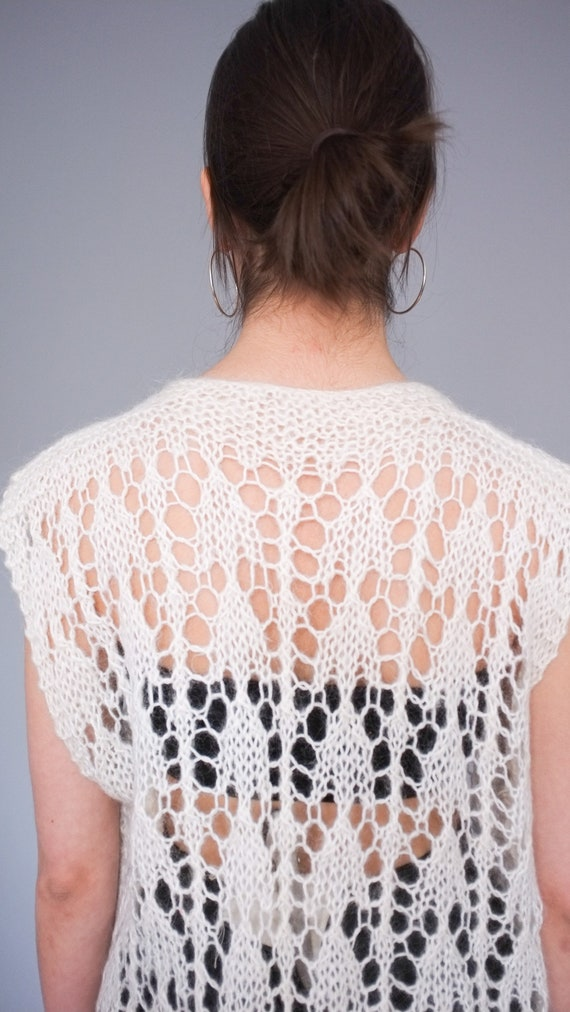 Vintage cream open knit sweater vest / Lightweigh… - image 6