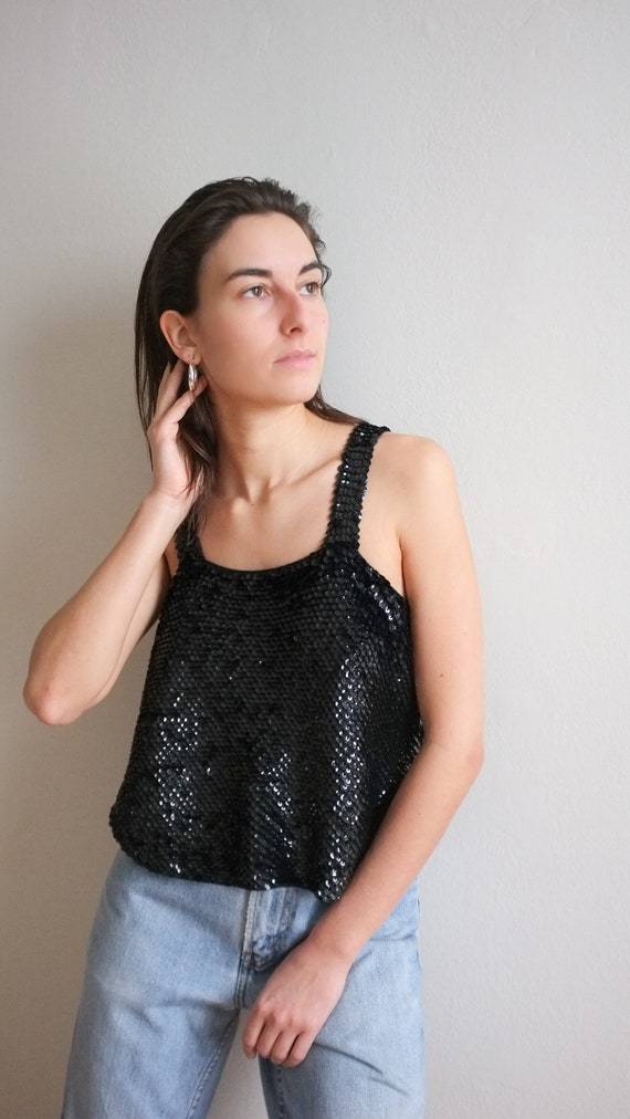 Vintage sequin crochet tank / Slinky black sequin