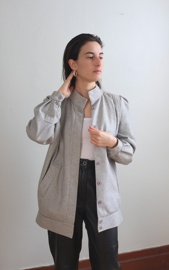 80s vintage wool bomber jacket / Gray houndstooth