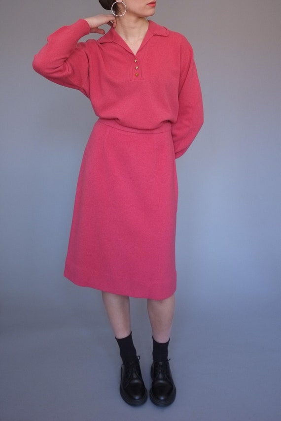vintage 1950s knitwear sweater and skirt set / 50s