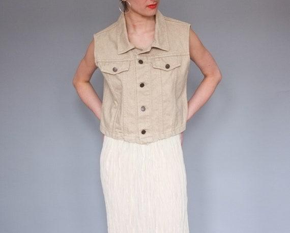 Vintage beige denim vest / 90s Cobra Jeans vest