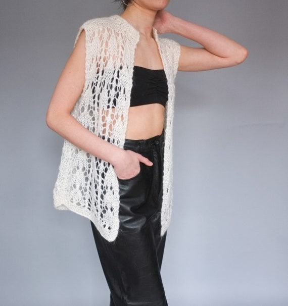 Vintage cream open knit sweater vest / Lightweigh… - image 7