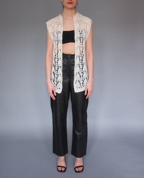 Vintage cream open knit sweater vest / Lightweight