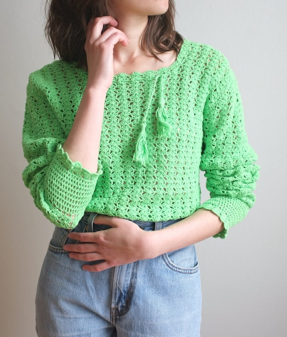 Lime green crochet sweater / open crochet knit top