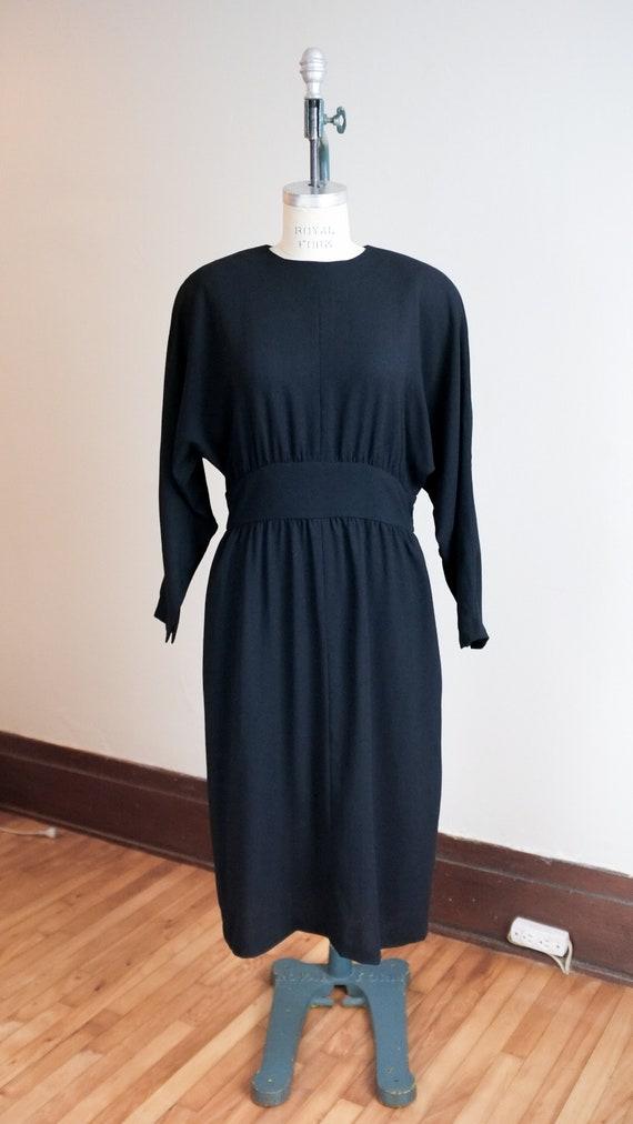 Vintage black wool dress / dolman sleeve dress