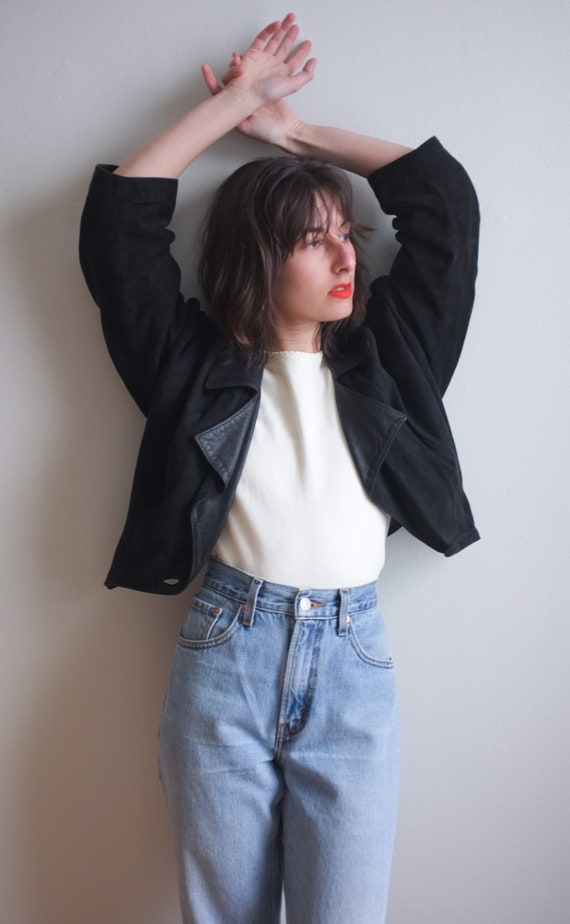 Black suede cropped jacket / 80's leather