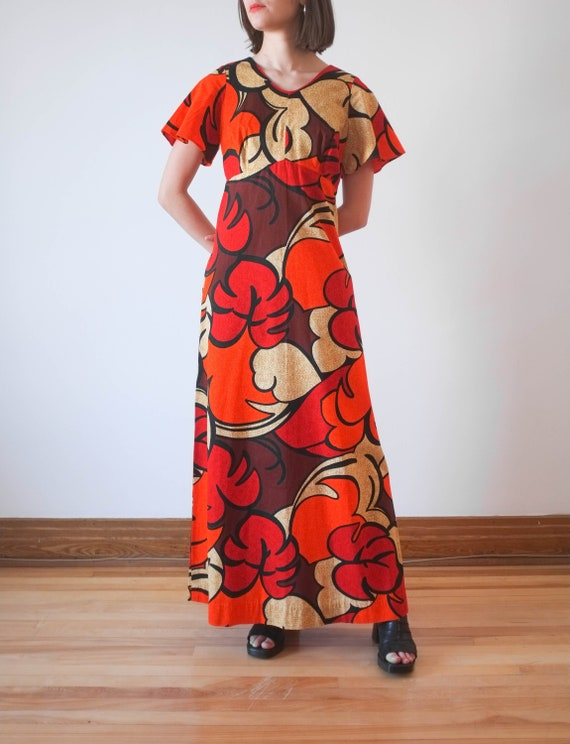 Vintage hawaiian cotton print dress / 70's hawaiia
