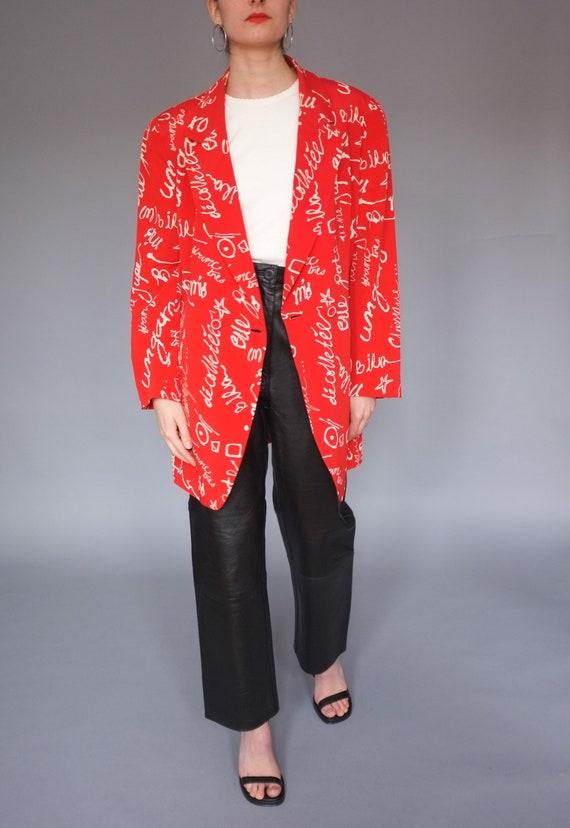 Vintage Emanuel Ungaro red printed silk blazer / O