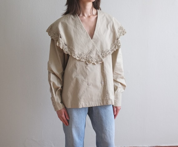 Beige oversized shawl collar blouse / 80's embroid