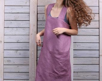 Full linen apron / Square cross linen apron / Pocket linen apron  / lilac