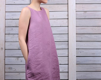 Linen holiday dress / Sleeveless mini dress / day dress with tassels  / loose fit dress / lilac