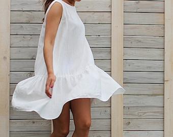 Linen summer dress / Sleeveless dress / Day dress / loose fit dress