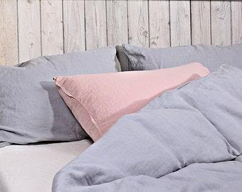 Set of 2 linen pillowcase / Linen pillow shams / Set of 2 linen sham / light gray or/and dusty pink