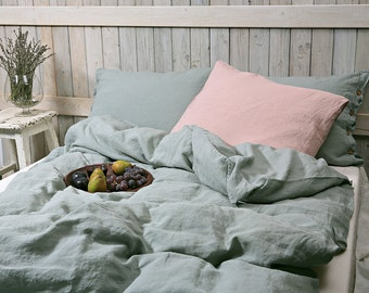 Pure linen duvet cover  / Organic bedding / Stonewashed and soft medium weight linen / dusty mint