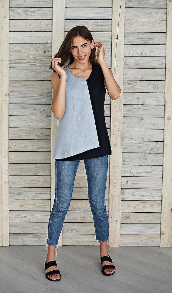 Casual linen top  Linen blouse with V neck  Linen tank top  Linen t shirt  Flax top for woman  Leisure cloth  Steel blue