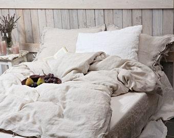 Linen duvet cover / Linen bedding / Organic duvet cover / bright natural linen