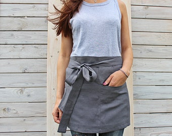 Cafe apron / Linen half apron / Unisex linen apron