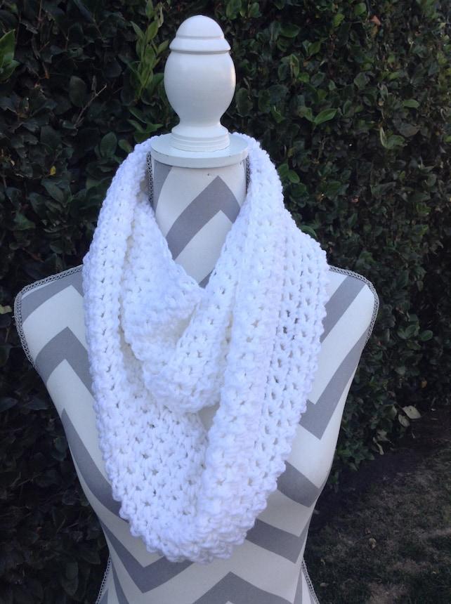 Infinity Scarf Crochet Infinity Scarf Cowl Scarf White Etsy
