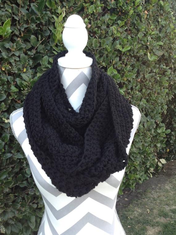 Infinity Scarf Crochet Infinity Scarf Cowl Scarf Black Etsy