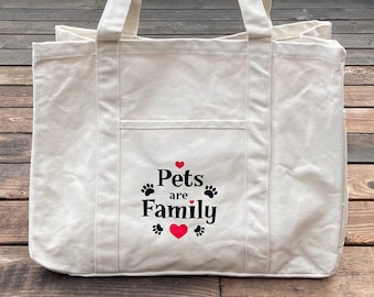 Tote Bag - Large Canvas Utility Tote - Pets are Family - Pet Tote Bag - Animal Rescue Bag - Dog Cat Pet Lover Gift - Donates to Animal Rescu