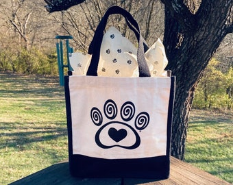 Mini Canvas Gift Tote Bag - Heart & Swirl Paw Print - Pet Gift Bag - Dog Cat Pet Lover Gift - Donates to Animal Rescue