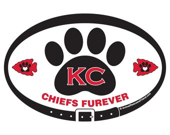 MAGNET or DECAL - KC Chiefs Furever (black on white) - Kansas City - Football - 4x6 Oval - Pet Lover Gift - Dog Cat Lover - donates to rescu