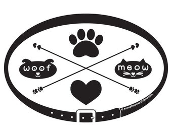 DECAL or MAGNET - Pet Lover eXtraordinaire - 4x6 Oval - Dog Cat Lover- woof - meow - Pet Lover Gift - Rescue Dog Cat - donates to rescue